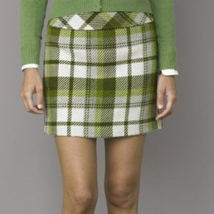 J. Crew Forest Green Wool Plaid Mini Skirt
